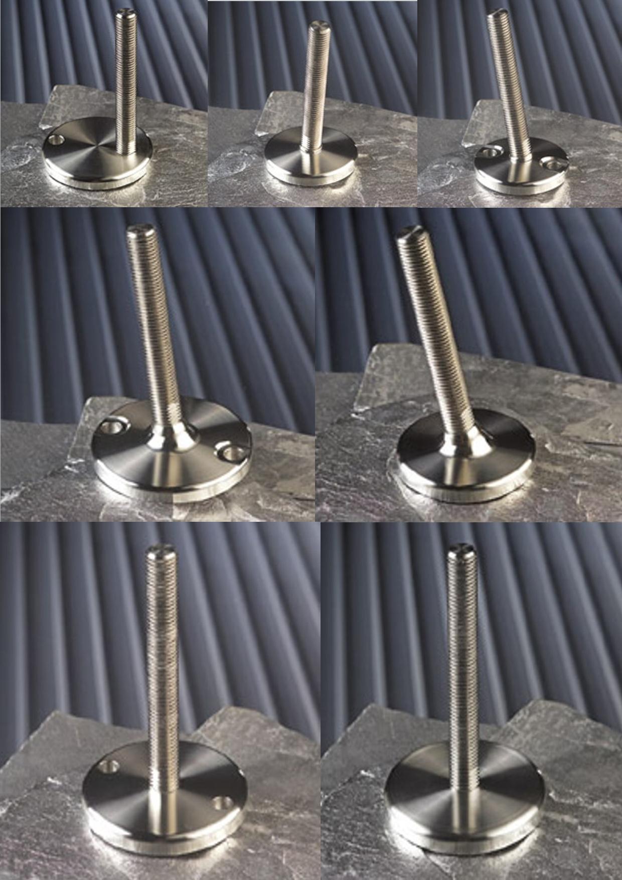 Pieds réglables en hauteur en acier inoxydable 304 MASSIF et adaptés aux très grandes charges (semelle caoutchouc et splitage au sol en option)